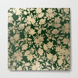 Stylish forest green chic gold elegant floral pattern Metal Print