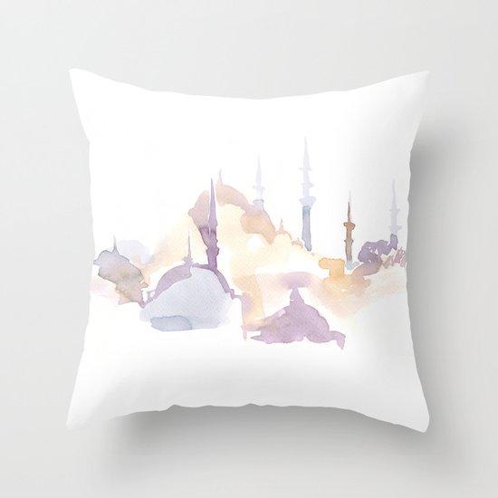 Watercolor landscape illustration_Istanbul - Saint Sophia Throw Pillow