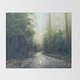 Redwood Forest Adventure - Nature Photography Throw Blanket