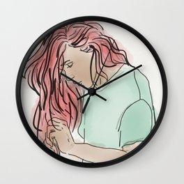Pink Hair, Green Shirt Wall Clock
