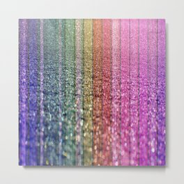Rainbow Shimmer - Striped Spectrum Metal Print
