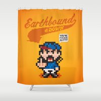 earthbound Shower Curtains featuring Earthbound & Down by Jango Snow