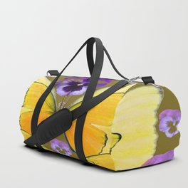 SPRING PURPLE PANSY FLOWERS & YELLOW BUTTERFLIES GARDEN Duffle Bag