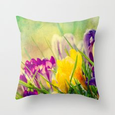 The first crocuses bloom Throw Pillow