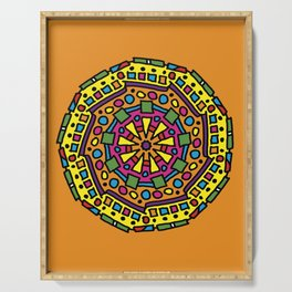 Orange Mandala Serving Tray