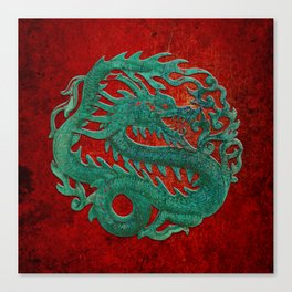 Wooden Jade Dragon Carving on Red Background Canvas Print