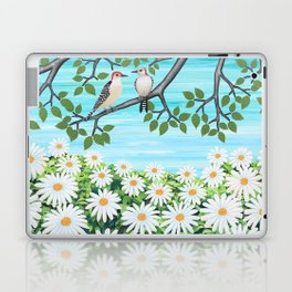 red bellied woodpeckers and daisies Laptop & iPad Skin
