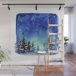 Winter Galaxy Forest Wall Mural