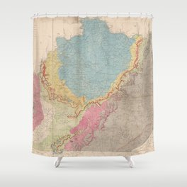 Vintage Geological Map of Kentucky (1877) Shower Curtain
