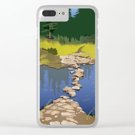 Rock Lake with quote by Robert Frost Clear iPhone Case