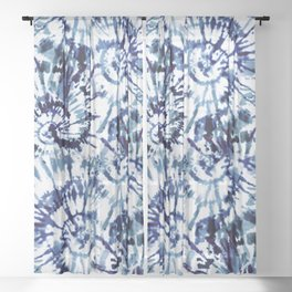 Blue Dye and Tie Sheer Curtain