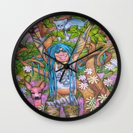 Woman with blue hair. Wall Clock