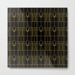 Parisienne Elegant Gold and Black Art Deco Pattern Metal Print