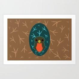 Robin with Foot Prints Art Print