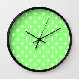 Fleur-de-Lis (White & Light Green Pattern) Wall Clock