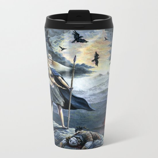 Valkyrie and Crows Metal Travel Mug