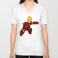 homer V-neck T-shirts featuring IRON HOMER by Betmac