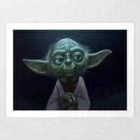 yoda Art Prints featuring Yoda  by Jeff Delgado