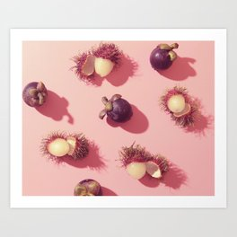 03_#Rambutan#mangosteen#tropical#fruits#in pink Art Print