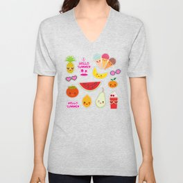 Hello Summer Persimmon, pear, pineapple, cherry smoothie, ice cream cone, sunglasses. Kawaii Unisex V-Neck