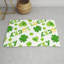 St. Patrick's Day Lucky Shamrocks and 4-Leaf Clovers Rug