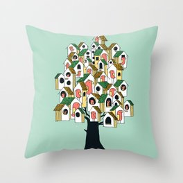 Bird houses Throw Pillow