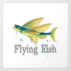 F is for Flying Fish Art Print