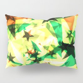 Bright glowing marsh golden stars on a light background in the projection. Pillow Sham