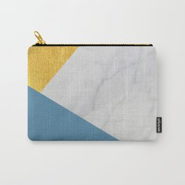 Carrara marble with gold and Pantone Niagara color Carry-All Pouch