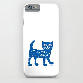Navy blue cat pattern iPhone Case