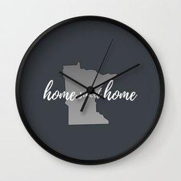 Minnesota Home Sweet Home Grey Wall Clock