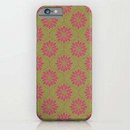 Weave Texture Large Flower Pattern - Olive Green Deep Pink iPhone Case