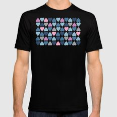 Diamond Hearts Pink Black Mens Fitted Tee MEDIUM