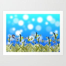 Aquarium of Colorful Fishes, Blue Bokeh Background Art Print