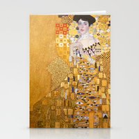 gustav klimt Stationery Cards featuring Gustav Klimt - The Woman in Gold by Elegant Chaos Gallery
