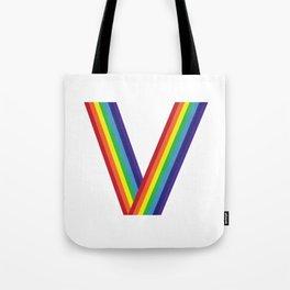Rainbow Monogram - Letter V Tote Bag