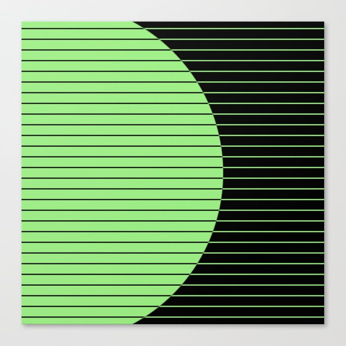 Opposites Attract (Abstract, green and black, geometric design) Canvas Print