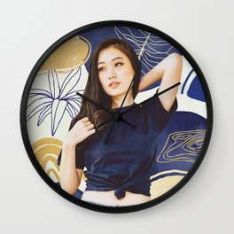 Jenny Gold and Blue Abstract Wall Clock