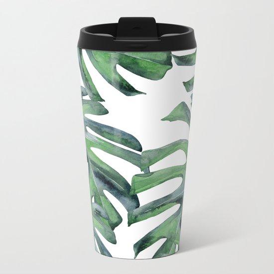 Tropical Palm Leaves Green on White Metal Travel Mug