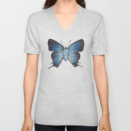 Butterfly - The Great Purple Hairstreak - ATLIDES HALESUS by Magda Opoka Unisex V-Neck