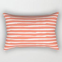 Thin Stripes White on Deep Coral Rectangular Pillow