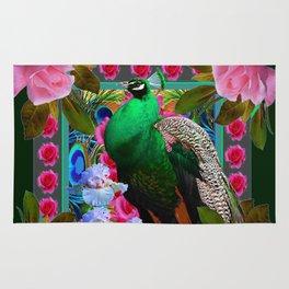PINK ROSES & GREEN PEACOCK GARDEN FLORAL ART Rug