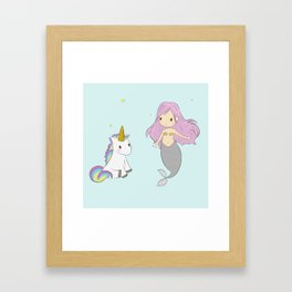 Unicorn and mermaid Framed Art Print
