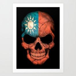 Dark Skull with Flag of Taiwan Art Print