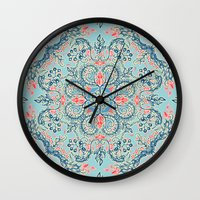 bedding Wall Clocks featuring Gypsy Floral in Red & Blue by micklyn