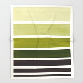 Olive Green Minimalist Watercolor Mid Century Staggered Stripes Rothko Color Block Geometric Art Throw Blanket