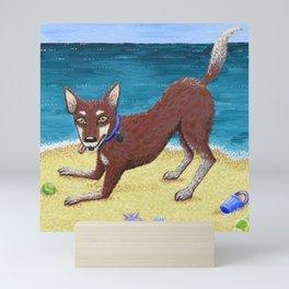 Red Dog Playing Mini Art Print