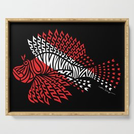 Tribal Scuba Flag Lionfish Serving Tray
