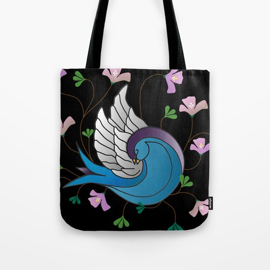 Sparrow on Black Tote Bag