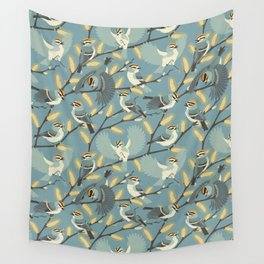 Golden-crowned Kinglets in a Pussy Willow (Dawn) Wall Tapestry